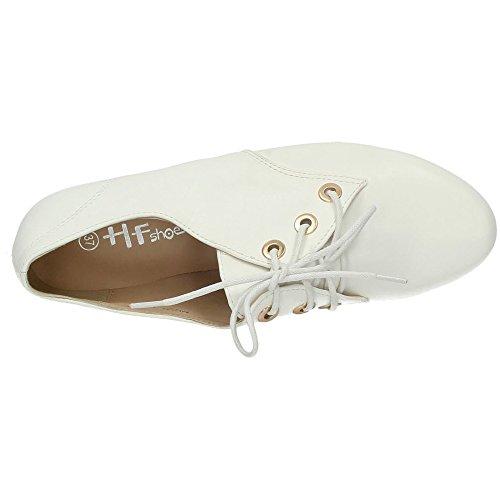 Shoes Blanc À Lacets Hy025 Femme Ville Hf Chaussures De Pour BnqgvwOfR