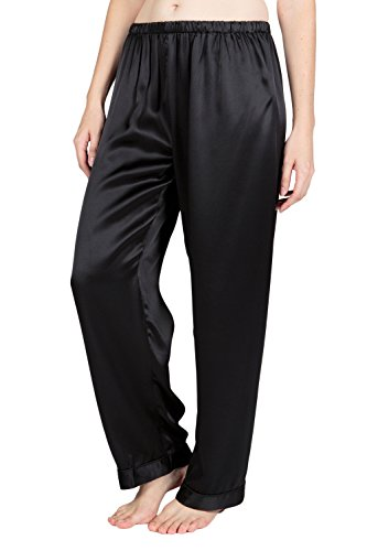 TexereSilk Women's Silk Pajama Sleep Pants (Morning Moon, Black, Large) Perfect Gifts for Women's Birthday WS0203-BLK-L