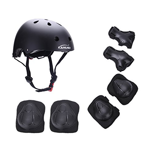 Kamugo Kids Youth Adjustable Sports Protective Gear Set Safety Pad Safeguard (Helmet Knee Elbow Wrist) Roller Bicycle BMX Bike Skateboard Hoverboard and Other Extreme Sports Activities Extreme Activity