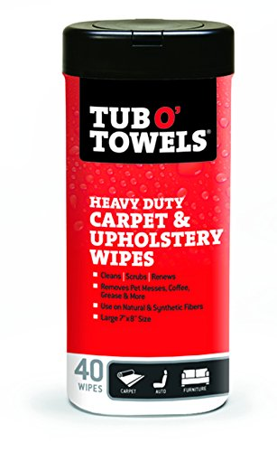 Tub O Towels TW40-CP Carpet And Upholstery Spot Remover Cleaning Wipes (Tub of 40 Wipes) (Tub Of Towels compare prices)