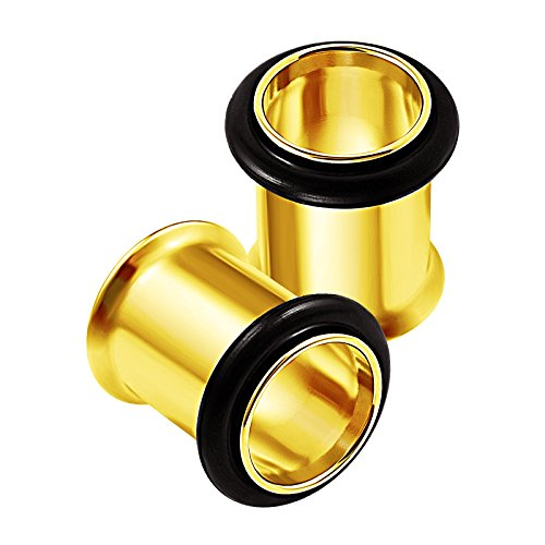O-ring Earring (2PCS Surgical Steel Anodized 0g 8mm Single Flared Black O-Rings Ear Gauge Earring Tunnel Plug Stretcher Piercing Jewelry 1836)