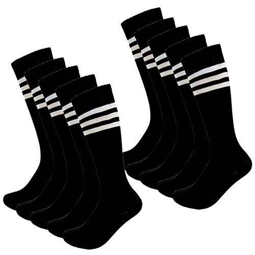 Kids Soccer Socks 4 Pack Boys Girls Cotton Team Socks Teens Children Soccer Socks (Shoe size 1-5 and Ages 8-11, Black)