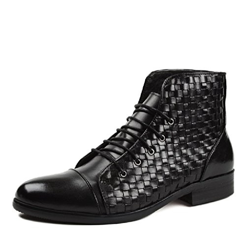 HWF Scarpe Uomo in Pelle Scarpe da uomo in pelle tessute a mano British Style Martin Army Short Boots High-Top Shoes (Colore : Marrone, dimensioni : EU38/UK5.5) Nero