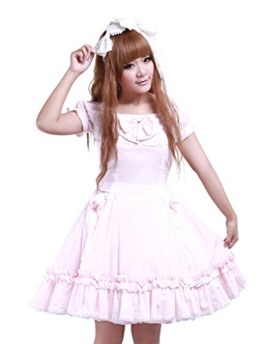 [Hugme Cotton Pink Lace Short Sleeves Cosplay Lolita Dress] (Custom Cosplay Costumes Sale)