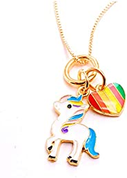Unicorn Mermaid Necklace for Girls,Rainbow Love Heart Pendant Necklace Birthday Jewelry Gifts for Daughter Gra