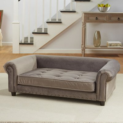 Enchanted Home Pet Manchester Velvet Tufted Pet Sofa In Grey by Enchanted Home Pet