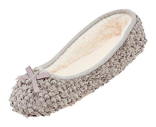 MIXIN Women's Ballerina Velveteen Soft Sole Indoor Slippers Grey US Size 8
