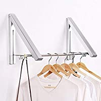 SRHOME Indoor/Outdoor Wall Mounted Folding Clothes Drying Rack- Retractable Clothes Hanger -Aluminum Folding Clothes Hanger Hanging on Bathroom,Bedroom Balcony and Laundry,Home Storage Organizer