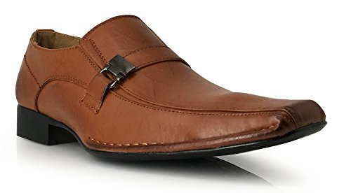 Enzo Romeo Sun03 Mens Dress Loafers Elastic Slip on With Buckle Fashion Dress Shoes Brown