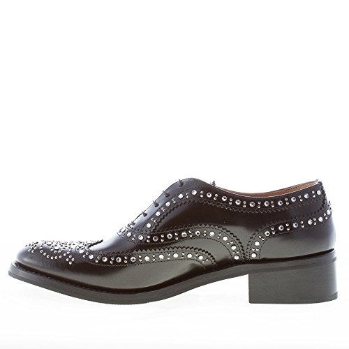 Nero Catherine Spazzolata con e Swarovski Scarpa Borchie Nero in Donna Shine Francesina CHURCH'S Pelle ZxqOwTH5