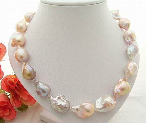 FidgetKute Natural 22mm AA Keshi Pearl Necklace-Silver Mabe ()