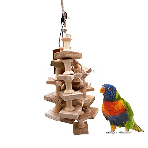 Borange Parrot Toys Bird Chewing Perch Colorful Wood Bite Stand Hanging Cages for Pet Birds Conure Macaw Cockatiel Cockatoo Decorative Accessories (Wood)