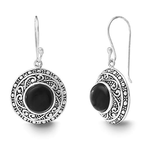 (WILLOWBIRD Round Simulated Black Onyx Filigree Border French Wire Earrings for Women In Oxidized 925 Sterling Silver (Round))