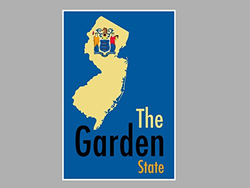 Larger Than Life Prints 791512732823 Poster New Jersey - The Garden State Map Flag (24x16 - Gardens Map Jersey