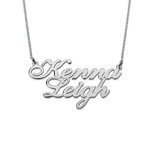 Ouslier Personalized 925 Sterling Silver Two Name Necklace Pendant 16