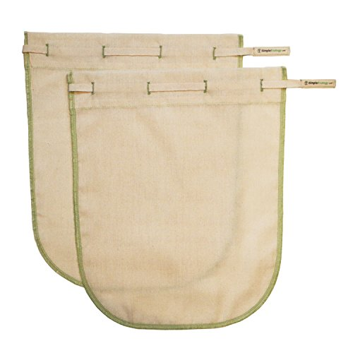 Simple Ecology Worlds Best Reusable Organic Cotton Muslin Fine Mesh Straining Bags - Large 2 Pack (nut milk strainer, cold brew, coffee filter, loose leaf tea infuser, food yogurt juice (Mesh Tea Bag)