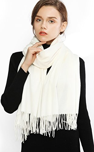 Winter Cashmere Wool Scarf Feel Warm Tick Large Pashmina Scarves Stole Shawl for Women (White Scarf Wool)