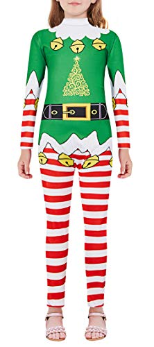 Funny Diy Halloween Costumes For Women (UNICOMIDEA Christmas Costumes for Kids Cutest Reindeer Santa Claus Bodysuits Green Youth Elf Dresses Adorable Red White Stripes Funny Holiday Long Sleeve Jumpsuits for Outdoor)