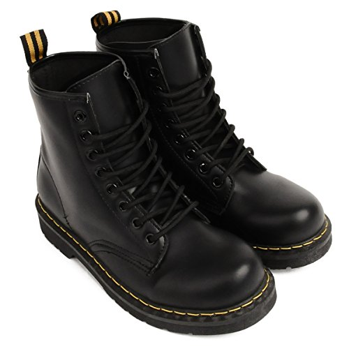 JINGJING Women's Winter Lace Up Short Boots Shoes Combat Boots Leather Snow Boots Waterproof Size 9 10
