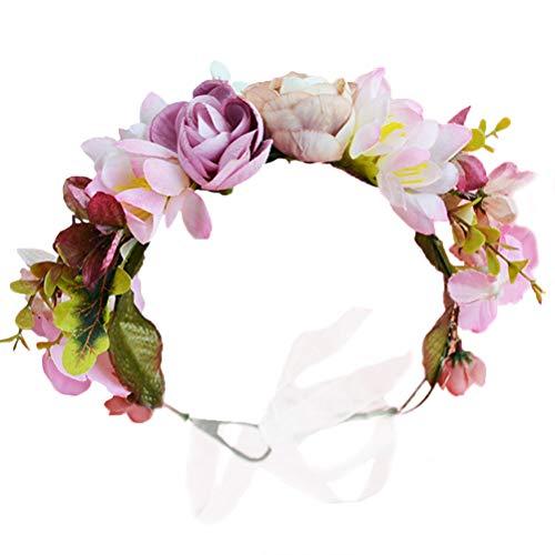 Vivivalue Women Floral Crown Boho Flower Headband Hair Wreath Floral Headpiece Halo with Ribbon Wedding Party Festival Photos Pink ()