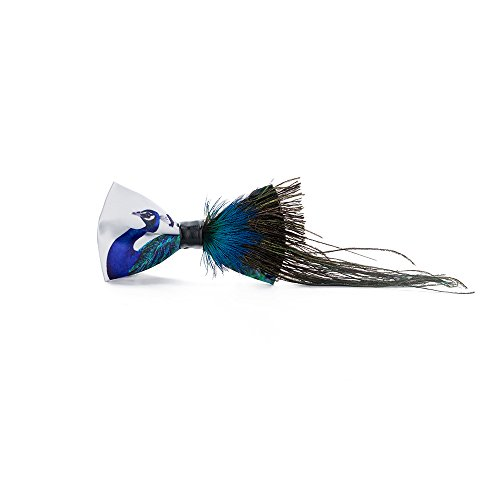 Handmade Bow tie Men's Unique Natural Blue Peacock Feathers Bow tie Wedding Cravat -