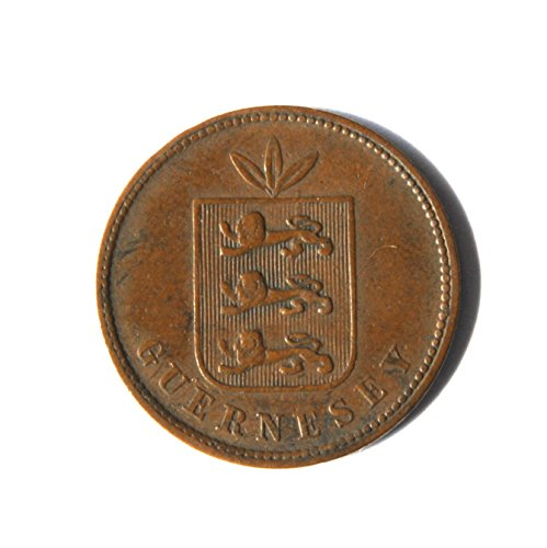 1864 Guernsey 4 Doubles, Channel Islands Coin Very Good Details