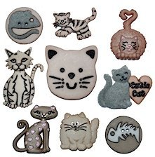 Pack of Novelty Dress it up Buttons, Feline Fancy Cats, for Sewing, Scrapbooking, Embelishments, Crafts, Knitting,
