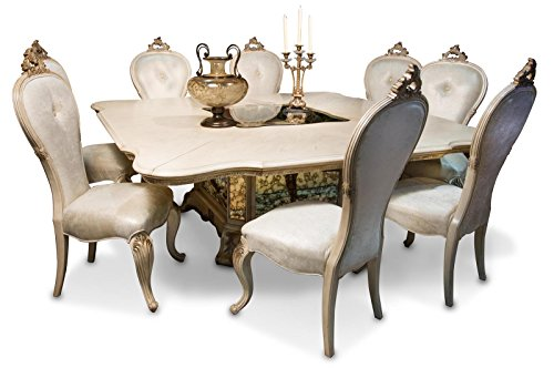 Aico Room Dining Furniture - AICO Platine de Royale Champagne Square 7 Piece Dining Room Set with Table and 6 x Side Chair