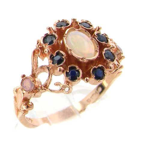 14K Rose Gold Womens Victorian Style Opal & Sapphire Ring - Sizes 5 to 12 Available