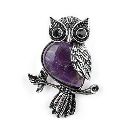 (Jovivi Vintage Crystal Rhinestone Natural Amethyst Leaf Cute Owl Bird Brooch Lapel Pins for Women Girls Wedding Bouquet)