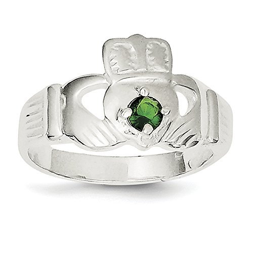 ICE CARATS 925 Sterling Silver Green Cubic Zirconia Cz Irish Claddagh Celtic Knot Band Ring Size 8.00 Fine Jewelry Gift Set For Women Heart