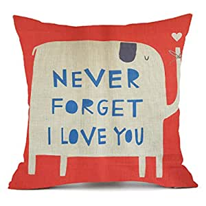 NYKKOLA Animal Style Cartoon Red Elephant Pass Love Letters Sofa Simple Home Design Case Decor Cushion Square Throw Pillow Covers, 18x18 inch,