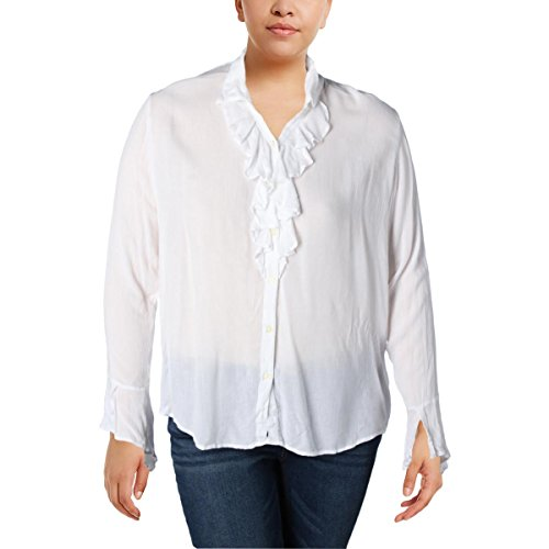 Denim & Supply Ralph Lauren Womens Crinkled Ruffled Peasant Top White XL by Polo Ralph Lauren (Image #2)