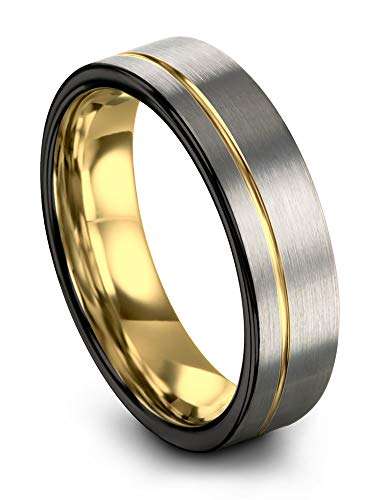 Midnight Rose Collection Tungsten Wedding Band Ring 7mm for Men Women 18k Yellow Gold Plated Flat Cut Off Set Line Black Grey Brushed Polished Size 10 (Men Rings Black Tungsten For 7mm)