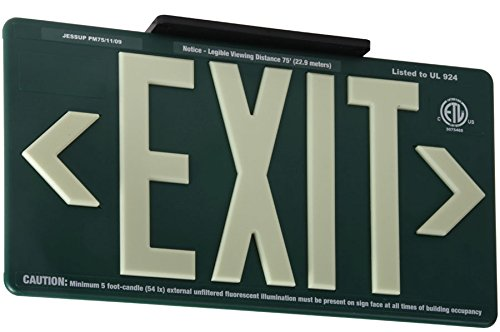 Jessup Glo Brite 75-7080-B P75 Molded Plastic Non Electrical, Glow-in-The-Dark (Photoluminescent) Eco Exit Sign for Outdoor and Wet Locations, Single-Sided, 8.5