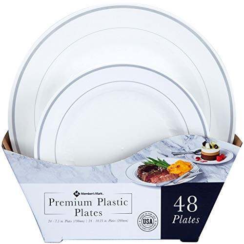 Masterpiece Plastic Plate Combo Pack, Large and Small, 48 Count