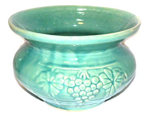 Vintage McCoy Light Green Glazed Art Pottery Cuspidor Spittoon w/Grape Pattern