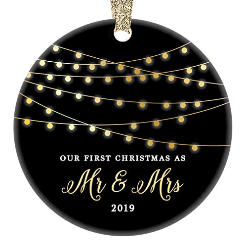 (Mr & Mrs First Christmas 2019 Ornament Porcelain Keepsake Gift Idea for Husband Wife 1st Holiday Married Couple Wedding Newlyweds 3