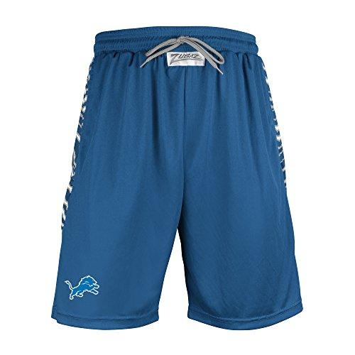 Accents Apparel (NFL Detroit Lions Men's Zubaz Zebra Print Accent Team Logo Active Shorts, Large, Blue)