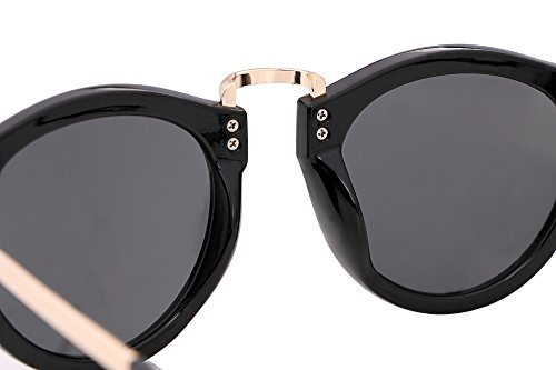 FEISEDY Vintage Design Polyester Metal Frame Polycarbonate Lenses Women Sunglasses Bright Black UV400