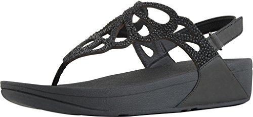 Fit Flop Sandalen Flip Flop Schuhe H71-001 Stuntel Kristal Sandaal Zwart