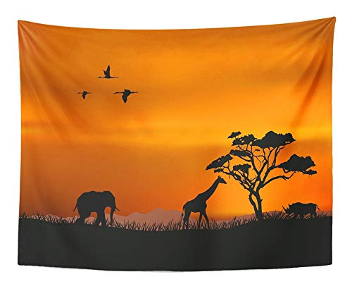 Emvency Tapestry Artwork Wall Hanging Orange Safari African Nature Red Africa Silhouette Sunset South Savannah Tree Animal 60x80 Inches Tapestries Mattress Tablecloth Curtain Home Decor Print