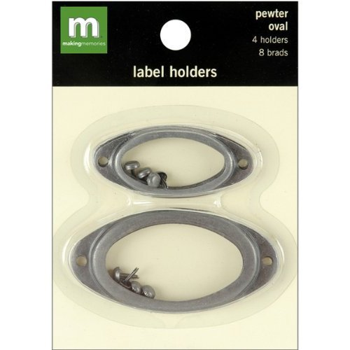 Pewter Metal Embellishments - Making Memories Label Holders Oval (4 Per Package) Two Sizes - Pewter