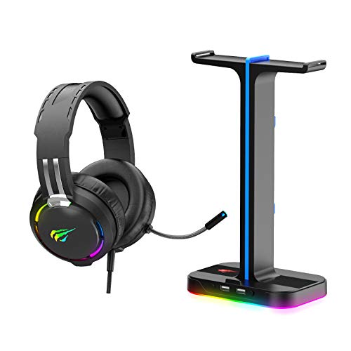 Havit RGB Gaming Headset and Headphone Stand 2 in 1 Set, Desk Dual Headset Hanger Base with Phone Holder & 2 USB Port…