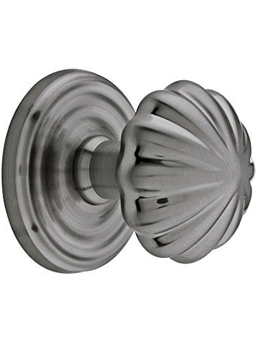 Classic Rosette Set With Fluted Brass Knobs Passage In Antique Pewter. Antique Reproduction Door Knobs. by - Reproduction Door