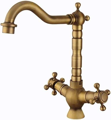 立体水栓 蛇口 タップ銅ホットとコールド蛇口レトロスパイラルキッチン蛇口のシンクの蛇口の浴室の蛇口ウォッシュウォーター 万能水栓 台付