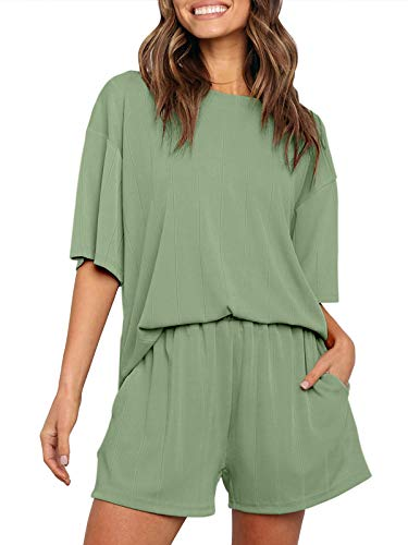 ZESICA Women's Summer Ribbed Knit Short Sleeve Top and Shorts Two Piece Loungewear Sleepwear Pajama Sets with Pockets
