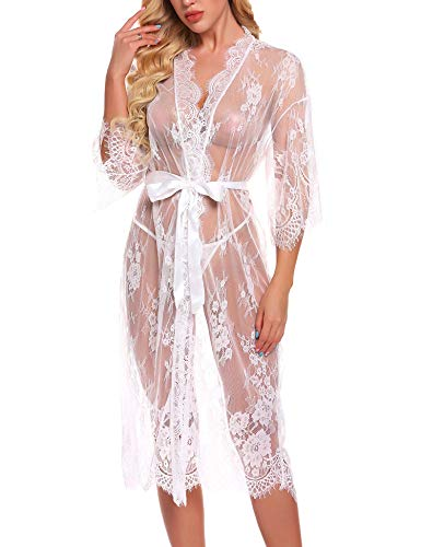 RSLOVE Lingerie for Women Sexy Long Lace Kimono Robe Eyelash Babydoll Sheer Cover up Dress White XXL