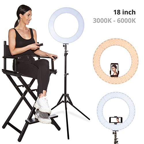 Inkeltech Ring Light - 18 inch Outer 60W Dimmable LED Ring Light Kit with Stand - Adjustable 3000K-6000K Color Temperature Lighting for Makeup, YouTube, Camera, Photo, Video - Control with Remote