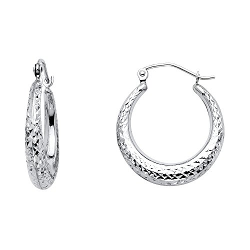 14k White Gold Diamond-cut Half Moon Hoop Earrings by Precious Gem Jewellers